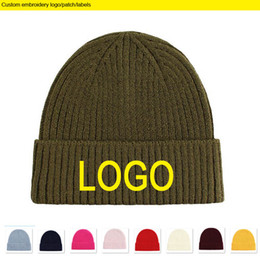 custom knit beanies NZ - New Army Green Winter Beanies Logo Embroidery Adult size skull caps Custom Thickness Warm Beanie Hip hot Knitted Hats Custom patch label