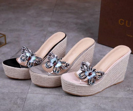 eb135431470db3 High Quality Women s Shoes Scuffs Muffin bottom Slippers upper Transparent  Sequins Butterfly Midsole Straw Rhinestone Sandal