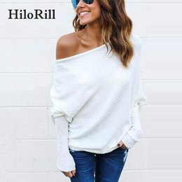 Ingrosso HiloRill Tee Shirt Femme 2018 Autunno Sexy Off The Shoulder Top per le donne T-Shirt Casual manica lunga Una spalla a maglia Top