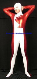 shiny zentai dressing Australia - Sexy Body Suit Costumes Outfit New Red White Shiny Lycra Metallic Suit Catsuit Costumes Unisex Halloween Party Fancy Dress Cosplay Suit P262