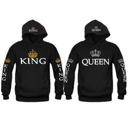 6dab192927 Crown King Canada - Couple Look Woman Man Hoodies Sweatshirt King Queen  Crown Printed Hooded Pullover