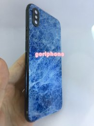 Hot Housing Australia - for iphone x jet black frame with light blue marble back, luxurious for iphone x gold housing, free shipping,2018 hot sale