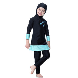 Girls bathinG suit kids swim online shopping - 2018 Muslim girl swimwear hijab Islamic lovely swimsuit for kids children Beach Wear moroccon swimming clothes bathing suit