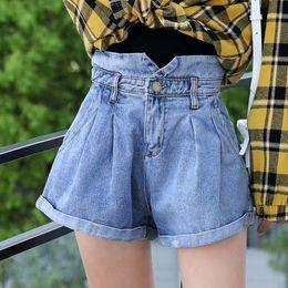 58b25c65c22f Good quality cotton denim short jeans woman summer spring elastic high  waist blue white shorts female wide leg shorts fashion S916
