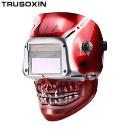 Weld Mask Darkening Canada - Skull Solar Auto Darkening DIN9-DIN13 Eara TIG MIG MMA Grinding Welding Mask Helmet Welder Cap for Welding Machine Stick Welder