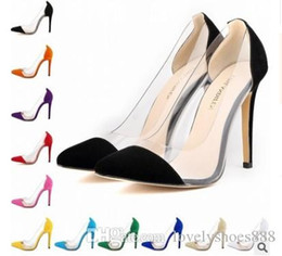 Beige Dress Color Shoes Canada - pointed toe large size black yellow beige red green purple blue color 35-42 women dress shoes 472