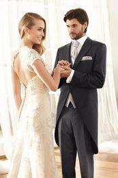 Discount grey tailcoat suit - New Arrival prom suits for men black tailcoat groomsmen suits slim fit men wedding (Jacket+Pants+Vest)