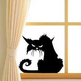 black cat window stickers 2019 - 14.5*13.5cm Black Cat Wall Stickers,Halloween Plane Cartoon Window Glass Stickers,Hot Children Home Decor Decals cheap b