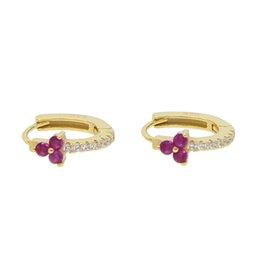 Aros Orecchini flor Hoop Earing con loto de piedra púrpura Delicado Earings 925 joyería de plata para mujeres hija regalo de boda 2018