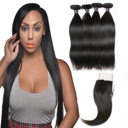 $enCountryForm.capitalKeyWord Australia - Brazilian Hair Weaves Best 10A Human Hair Bundles With Closure Straight Hair Extensions Wholesale Free Shipping 4bundles With Closure