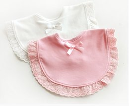 wholesale baby bibs kids Canada - baby girls cotton lace bibs,Baby solid Burp Cloths pink white children's kerchief infant towel kid neckerchief not Waterproof