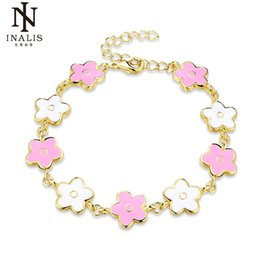 Discount gold set jewelry for children - Wholesale- INALIS Gold Pink Color Enamel Drop oil Flower Bracelets for Women Girl Female Child Jewelry Gift