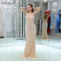 $enCountryForm.capitalKeyWord NZ - Luxury Full Beadings Long Evening Dresses Mermaid Champagne V Neck Sexy vestido gala dress de graduacion festa longo robe de soiree 2018