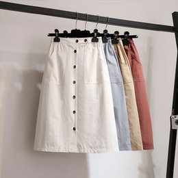 Wholesale 2018 New Japan Style Pocket buttons Washed Cotton Midi A Line Skirt Women ladies elastic Waist chic casual slim Female skirt
