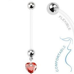 Pregnant Set Canada - 14G 30PCS Pregnant Belly Button Ring Crystal Flexible Baby Boy Navel Piercing Set Heart Star Ball Body Jewelry