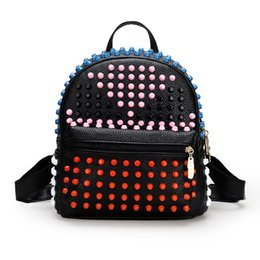 541e10965ce3 colorful fashion backpacks 2019 - wholesale Colorful Rivets Backpacks Women  Bags Back To School Fashion Backpack