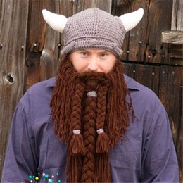 9823a5eab3d0a2 Novel Funny Personality Autumn winter knitted Big Wig Beard Ox horn cap  cosplay hat Viking knight Helmet Creative Christmas Hallowmas gifts