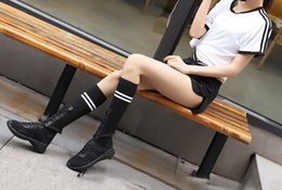 Ladies Flat Cloth Shoes NZ - 2018 Women's boots Knee Boots Ventilation Casual fashion ladies shoes Mesh cloth and leather Net Spring and Fall Flat heel