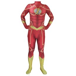 d1fe4daa4df6 Superhero The Flash Adult Men Kids Lycra Spandex Cosplay Halloween Party  Zentai Jumpsuit Bodysuit Suit Unitard Plugsuit