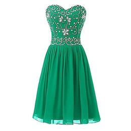 petite plus size cocktail dresses UK - Robe De Cocktail Dresses 2018 Green Black Sweetheart Beadings Chiffon Short Prom Gown Homecoming Party Dresses Custom Plus Size