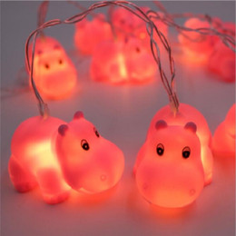 Battery Lighted Christmas Ornament Australia - SXI Indoor Outdoor 4.9 ft Hippo Cute Animal Ornaments Battery Operated 10 LED Decorative String Lights for Party Yard & Garden Kids Bedroom