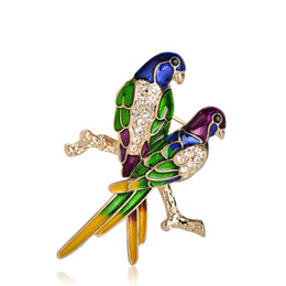 $enCountryForm.capitalKeyWord UK - Blucome Colorful Enamel Couple Parrot Brooches Women Men Routime Suit Scarf Dress Decorations Crystal Birds Jewelry Lapel Pin