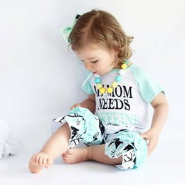 kids shorts pants for summer Canada - Children's Summer Suit 2018 New Arrival Short-sleeved Suits Stylish Letter T-shirt + Pants Two-piece Set for Kid Girls