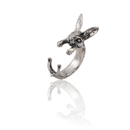 eab0cb98d32f Vintage Punk Rabbit Rings For Women Hip Hop Silver Bunny Animal Ring Men  Gothic Unisex Opening Ring Jewelry Wholesale Anillos Mujer