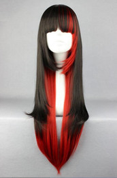 girl cosplay long black hair UK - Free shipping>>>New Cosplay Costume Wigs 70cm long Harajuku lolita Girls Anime Hair Red and Black