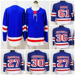 Cheap 2018 New Mens New York Rangers 27 Ryan McDonagh 30 Henrik Lundqvist  36 Mats Zuccarello 61 Rick Nash Blank Blue Ice Hockey Jerseys 89f5aeafa