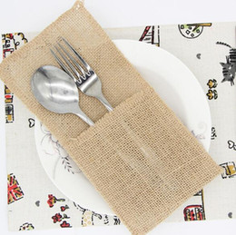 Discount vintage cutlery holder - Linen Cutlery Holder Packaging Fork Knife Vintage Cutlery Bag Wedding Tableware Pouch Cutlery Holder Decoration Favor