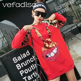 patterns for casual tops women 2019 - Vefadisa Loose Clothing for Women 2018 Spring Long Tops Cartoon Pattern Sweatshirts and Pullovers Red Sequin Sweatshirt