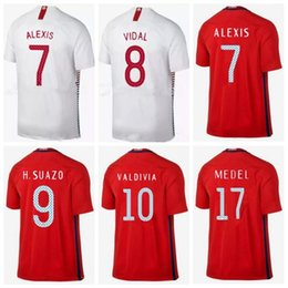 ca3214a57 Chile Soccer Jerseys  7 ALEXIS  8 VIDAL Soccer Shirts  17 MEDEL  10  VALDIVIA Home Red Away White Football Uniform