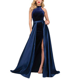 vintage velvet gown UK - Sexy Halter Split Velvet Long Mermaid Prom Dresses Formal Evening Dresses For Women With Detachable Train Custom Made Prom Gowns
