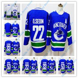 1d0baf320 Vancouver Canucks Jersey 22 Daniel Sedin 33 Henrik Sedin 53 Bo Horvat Hockey  Jerseys White Blue BLANK