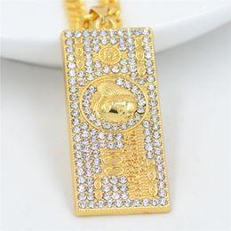 $enCountryForm.capitalKeyWord NZ - US$100 Dollar Money Necklaces Pendants Male Crystal Gold Color Chain For Men Rhinestone Hip Hop Bling Jewelry