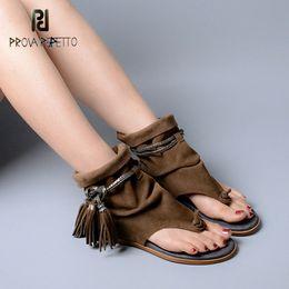 $enCountryForm.capitalKeyWord NZ - Prova Perfetto Brand Lady Ankle Boots Sandal Shoe Thong Tassel Fringe Bohemia Summer Ethnic Vintage Style Gladiator Flat Sandal