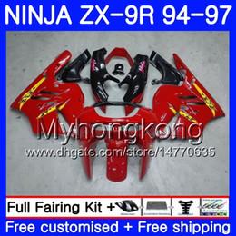 96 Kawasaki Zx9r Australia - Body For KAWASAKI NINJA ZX900 ZX 9R 1994 1995 1996 1997 Stock red Hot 221HM.39 black ZX9R900 900CC ZX-9R 94 97 ZX9R 94 95 96 97 Fairing kit