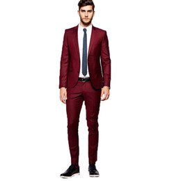 Wholesale clothes for prom for sale - Group buy Burgundy Men Suits for Wedding Custom Made Best Man Blazers Pieces Jacket Pants Groomsmen Suits Prom Wear Bridegroom Dress Male Clothing