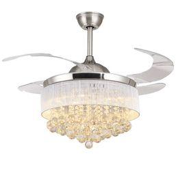 Venta al por mayor de LED Modernos Ventiladores de Techo de Cristal con Luces Ventilador de Techo Plegable Lámpara de Ventilador de Techo con Control Remoto Ventilador De Techo