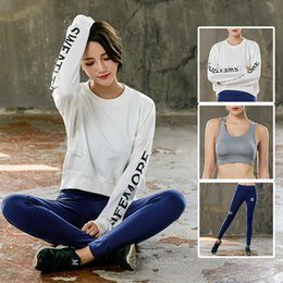 $enCountryForm.capitalKeyWord NZ - Yoga Set for Women Quickly Dry Long Sleeve Sweatshirt Pants High Impact Sports Bra Running Fitness Gym Set Tracksuit Sportswear