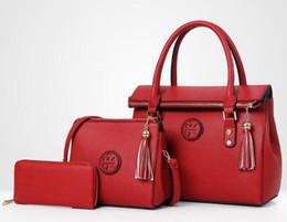 China Lady Hand bag PU Leather Tassel Handbag 3 Pcs Composite Bags Set Lady Shoulder Crossbody Women Female Wallet Clutch Cross Body Free Ship suppliers