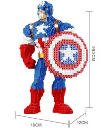 Wholesale 29cm Height Movie Diamond bircks Figures Captain American Blocks DIY Building Brick D Educational Assembling Toys Gift