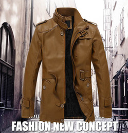 Front Stand NZ - 2018 New Arrival Men's PU Jackets Coats Stand Collar Plus velvet Coat For men Top Quality leather jacket men COAT