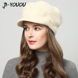 Beanies For Winter Australia - JIYOUOU winter hats for women Skullies Beanies hand made hats 2018 New women's hat knitted cap Khaki wholesale S18101708