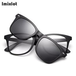e52c412012 2 In 1 Magnet Sunglasses Clip Mirrored Clip On Sunglasses On Glasses Men  Polarized Clips Custom Prescription Myopia
