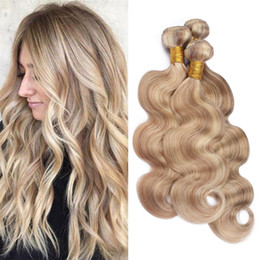 Piano Hair Weave NZ - Light Brown with Blonde Highlight Piano Human Hair Bundles #27 613 Two Tone Indian Body Wave Virgin Hair Weave Double Wefts