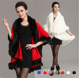 Wedding coats for bridesmaids online shopping - Womens Winter Wedding Faux Fox Fur Bridal Shrug Wrap Cape Big Stole Shawl Bolero Jacket Coat For Bride Bridesmaid WT24