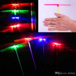 Wholesale Toys Helicopter NZ - 2 leaf Led Lighted Flying Bamboo Dragonfly Helicopter Boomerang Frisbee Flash Children Kids Boys Toys Christmas gift