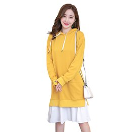 Spring Autumn Dress Maternity Hoodies Sweatshirt Dress Fashion Hooded Fleeces Pregnancy Dresses Plus Size Pregnant Clothing Dresses